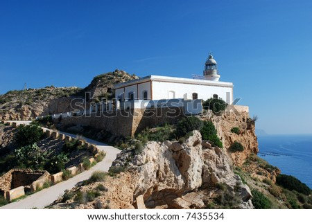 Lighthouse at the Mediterranean Coast in Spain