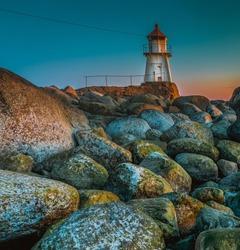 Lighthouse at Ytre Hvaler National Park in Norway in Scandinavia