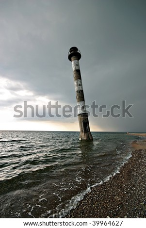 Lighthouse before storm in Kiipsaare, Vilsandi National Park, Saaremaa, Estonia - stock photo