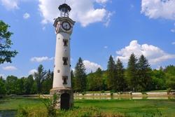 Lighthouse clock tower at Kailaka lake (Pleven, Bulgaria) nature park.