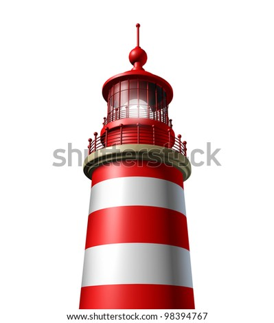 Lighthouse close up on white as a beacon of hope and strategic guidance symbol from the high tower for security and clear direction assistance in planning a journey or business strategy.
