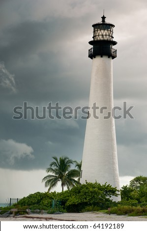 Lighthouse in a cloudy day with a storm approaching