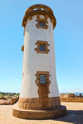 lighthouse in Brittany on Pink Granite Coast in France
