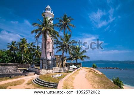 Lighthouse in fort Galle - Sri Lanka seascape Foto stock ©