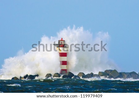 Lighthouse in Holland during a storm