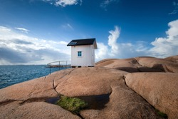 Lighthouse in Lysekil Sweden on the westcoast with the ocean