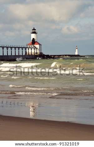 Lighthouse in Michigan City, Indiana. Lake Michigan.