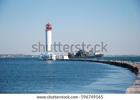 lighthouse in odessa ukraine #596749565