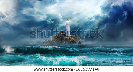 Lighthouse in storm with big waves of tsunami