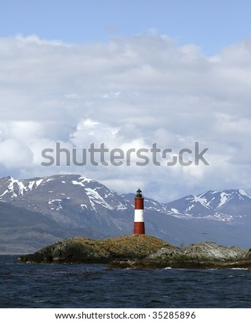 Lighthouse in the Beagle Channel, Argentina - stock photo