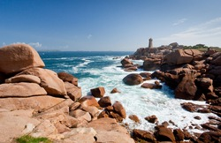 lighthouse in the rocks of Brittany Pink Granite Coast in France