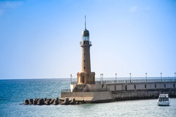 Lighthouse in the sea Alexandria  in Egypt