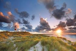 Lighthouse List and beautiful coastal landscape of the german North Sea Island Sylt, Germany, Europe