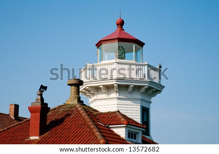Lighthouse look-out and red rooftops