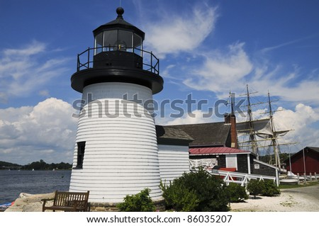Lighthouse, Mystic Seaport, Mystic, Connecticut, USA