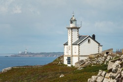 Lighthouse near Camaret sur Mer (Brittany, France) on a sunny day in summer