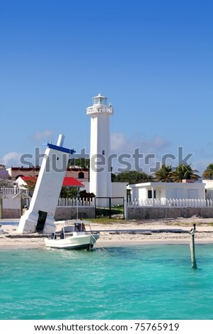 Lighthouse new and old inclined Puerto Morelos Mayan Riviera Mexico