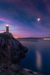Lighthouse of Aviles at the entrance of the river, light from the port to the beach of San Juan and Salinas