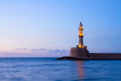 lighthouse of Chania at blue night, Crete, Greece