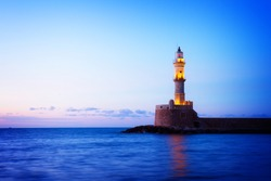 lighthouse of Chania at blue night, Crete, Greece, retro toned