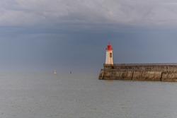 Lighthouse of grande jetee in les Sables d'Olonne in France.
