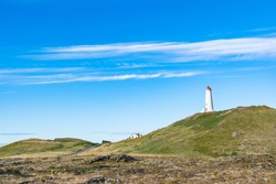 Lighthouse of Reykjanes in Iceland on a sunny autumn day
