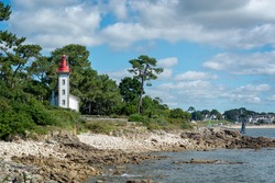 Lighthouse of Sainte Marine at Combrit cape in Brittany, France