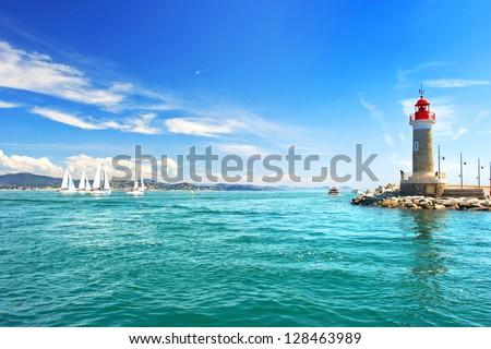 Lighthouse of St. Tropez. beautiful mediterranean landscape. french riviera, Cote d' Azur, France
