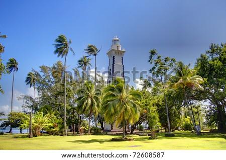Lighthouse of the Venus point, Tahiti island, French polynesia.