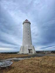 Lighthouse on a cloudy day in Akranes, West Iceland