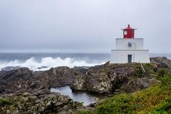 Lighthouse on a coast line with waves crashing on the rocks