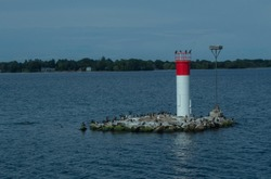 Lighthouse on a little island in the 1000 island
