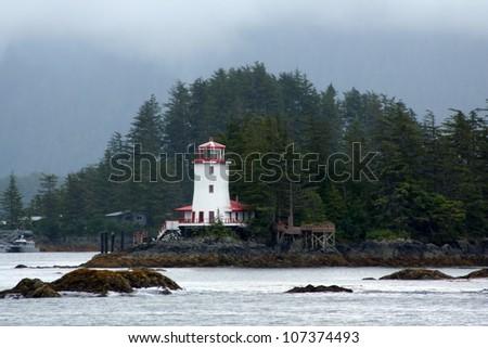 Lighthouse on a rocky shoreline