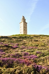 lighthouse on coast of portugal, photo as a background , in a coruna north spain, galicia, spain, europe , tower of hercules lighthouse