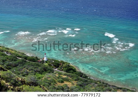 lighthouse on Diamond Head, Hawaii - stock photo