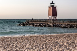 Lighthouse on Lake Michigan in the town of Charlevoix.