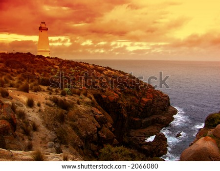 Lighthouse on rugged coast