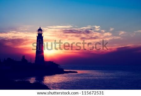 Lighthouse on sunset. Crimea, Ukraine