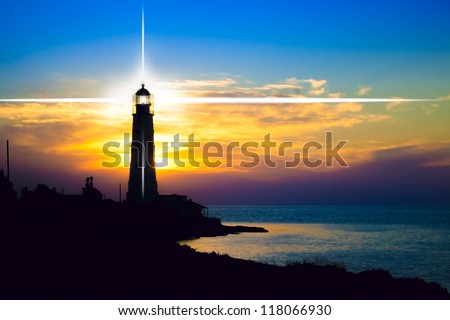 Lighthouse on sunset Crimea Ukraine