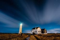 Lighthouse on the atlantic coast in Reykjavik Iceland. Scenery with lighthouse