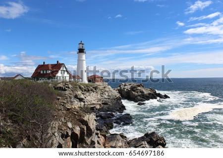 Lighthouse on the coast of Maine #654697186