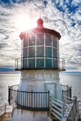 Lighthouse on the Reyes point in California USA