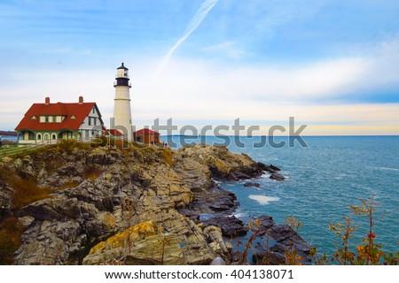 Lighthouse on the rocks, Portland, Maine #404138071