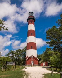 Lighthouse on the seashore of Assateague Island