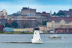 Lighthouse Sailboats New Bedford Harbor Buzards Bay Massachusetts United States.