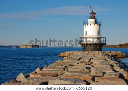 lighthouse, sea, and old fort