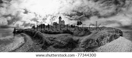 lighthouse sea ocean wave clouds seascape panorama black & white