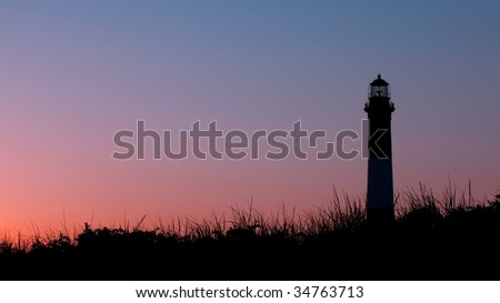 Lighthouse Silhouette on Sunset