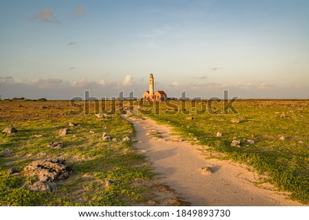 Lighthouse Views around the deserted island of Klein Curacao Stockfoto ©