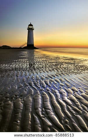 lighthouse with fantastic sunset